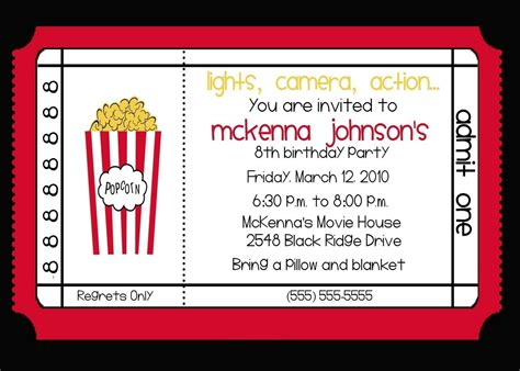 printable birthday invitations movie theme free movie theater invitations google search adri s 4th