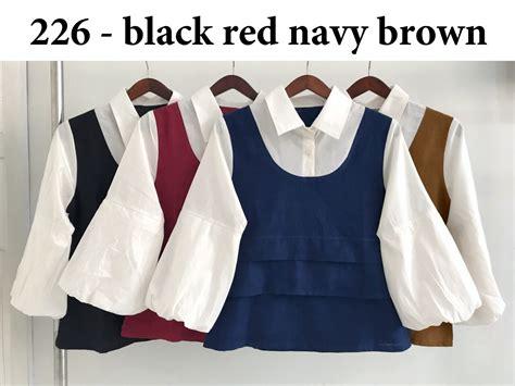 Jossie Navy Baju Wanita Baju Atasanbaju Atasan Wanita Baju Kaos baju atasan blouse 226 katun busana kerja wanita murah
