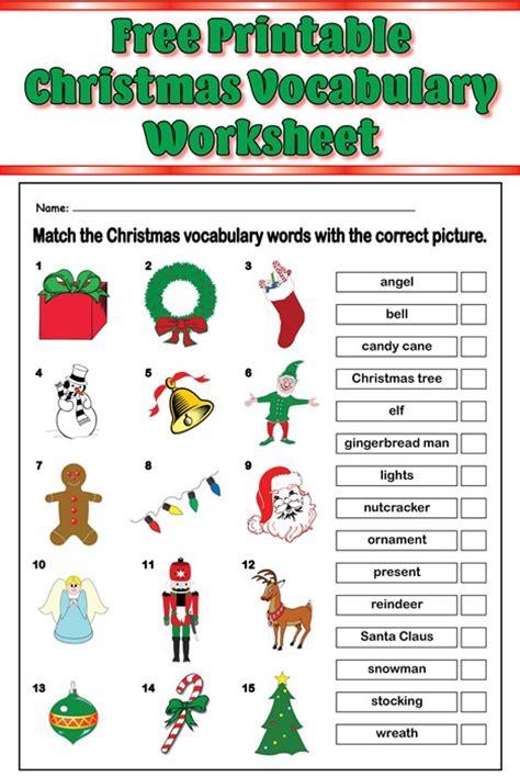 english printable worksheets christmas free printable christmas vocabulary matching worksheet