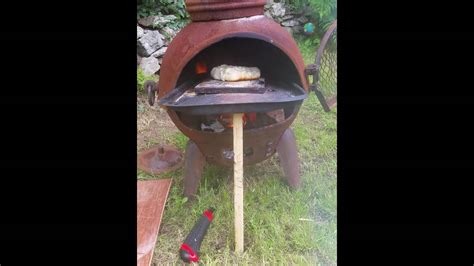 chiminea cooking youtube 2nd test wood fired chiminea pizza oven youtube