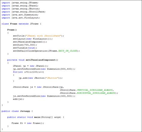 java swing jpanel exle java jpanel with java jscrollpane java swing tutorial