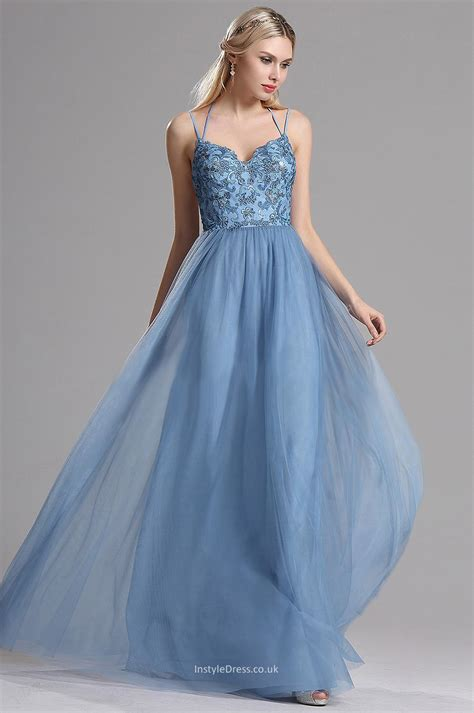 Chic Sky Blue Lace Tulle Slim Straps A Line Long Prom
