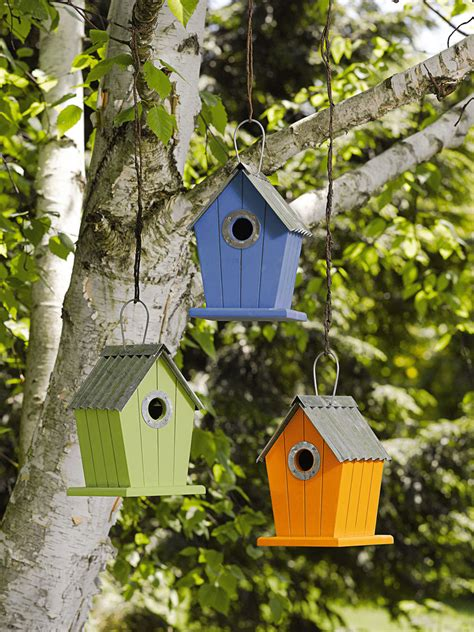 colorful bird houses colorful cottage birdhouses set of 3 gardener s supply
