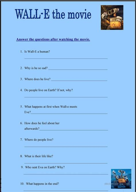 wall e movie questions by nicole duhr teachers pay teachers wall e worksheet resultinfos