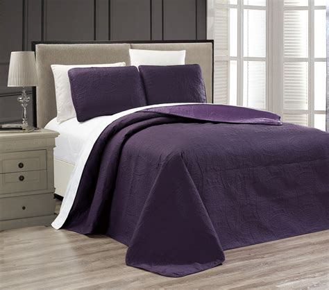 purple medallion bedding embossed purple medallion reversible bedspread quilt set