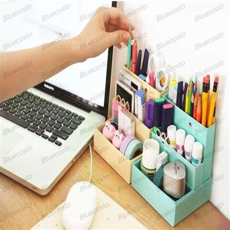 Makeup Desk Organizer Diy Makeup Cosmetic Paper Board Storage Desk Container Box Organizer Stationary Ebay