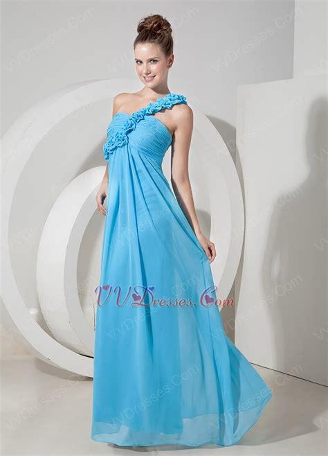aqua color dress one shoulder rosette aqua blue chiffon prom dress