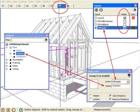 sketchup tutorial on layers the sketchup outliner and 3d construction models 3d