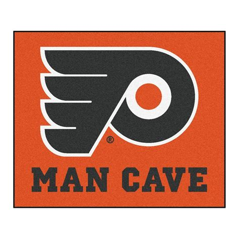flyers rug fanmats philadelphia flyers orange cave 5 ft x 6 ft area rug 14472 the home depot