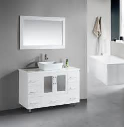Stanton 48 inch White Bathroom Vanity Porcelain Vessel Sink