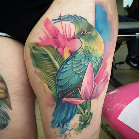 bird flower tattoo designs schalow s turaco bird best design ideas