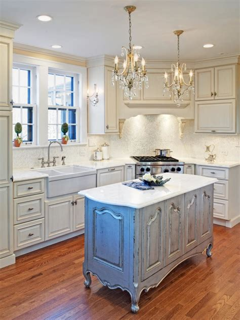 Wood Kitchen Ideas by Distressed White Kitchen Cabinets Mixed Glass Chandeliers