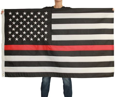 with stripes thin line flag 3x5 foot with embroidered and sewn stripes black white