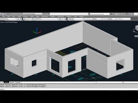create a 3d house autocad 3d house part1 making 3d walls youtube