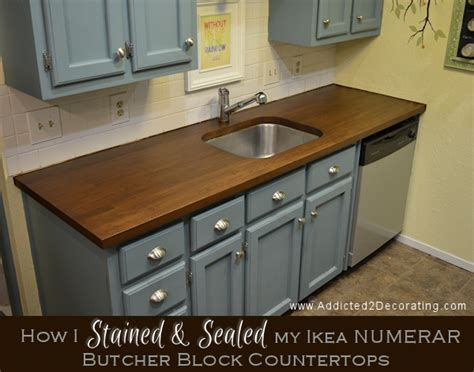 how to install butcher block countertops how i stained and sealed my ikea numerar butcher block