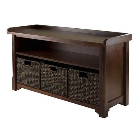three basket storage bench storage bench with 3 baskets in walnut and chocolate 94338