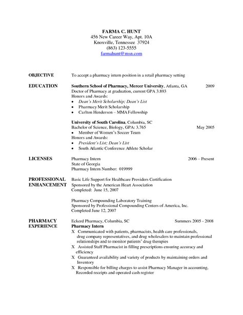 Resume Objective Exles Pharmacist Pharmacist Resume Exles Pharmacy Technician Career Goals Excellent Template With