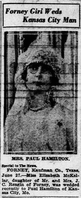 City Of Dallas Marriage Records Marriage Of Paul Hamilton Elizabeth Mckellar