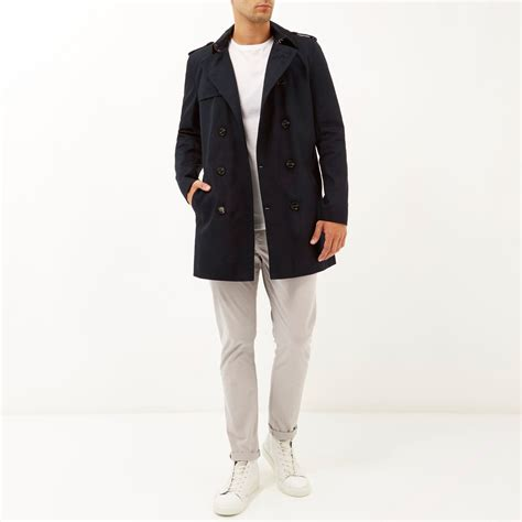 Island Trenchcoat by River Island Navy Breasted Trench Coat In