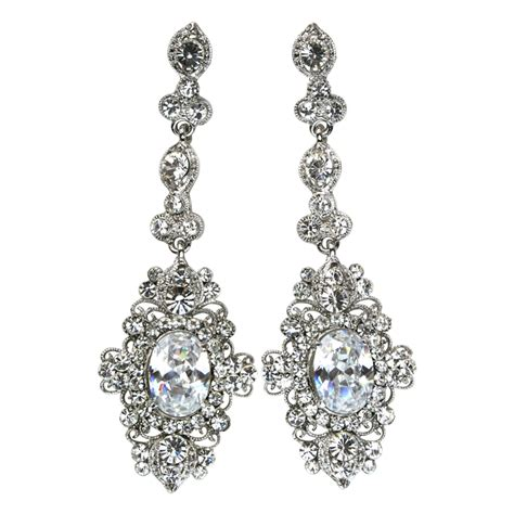Elegance Collection Elegant Cubic Zirconia Crystal Vintage Style Chandelier Earrings