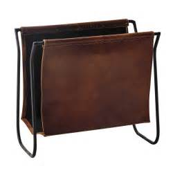 Industrial Style Bedroom calvin leather and metal magazine rack in brown maisons