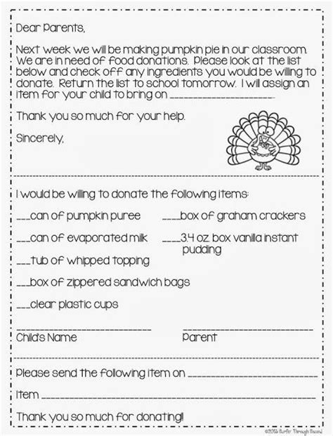 Parent Letter For Thanksgiving Feast Letter To Parents About Thanksgiving Feast Reanimators