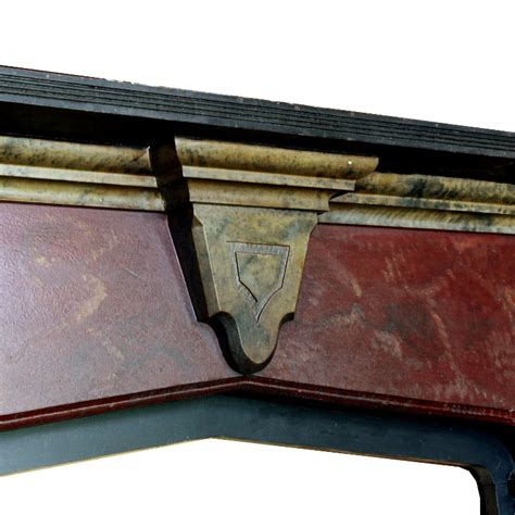 striking antique wood fireplace mantel with original faux