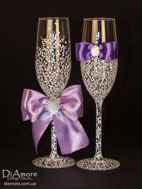 Wedding Glasses by Luxury White Purple Wedding Glasses From The By Diamoreds