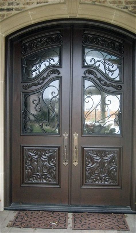 Front Door Wrought Iron Mahogany Wrought Iron Carved Doors Mediterranean Front Doors Miami By Decodesigncenter