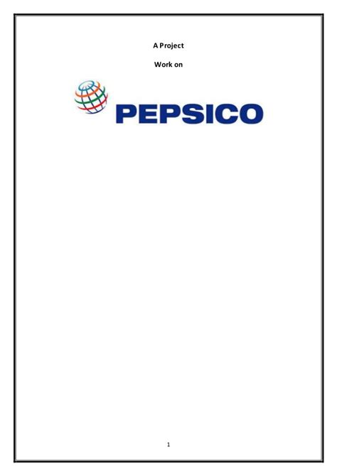 introduction of pepsi slideshare a project work on pepsico