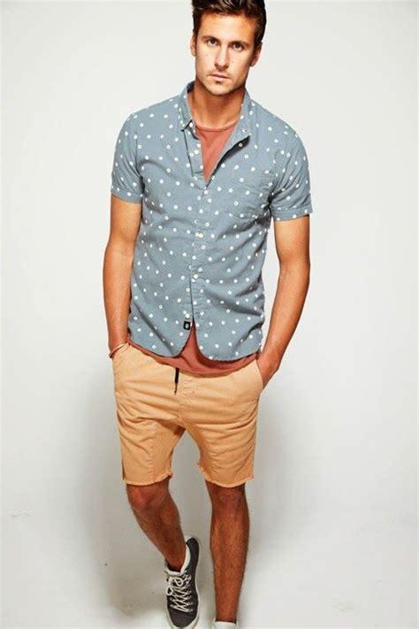 pale blue shirt with dots slight drop crotch khaki shorts