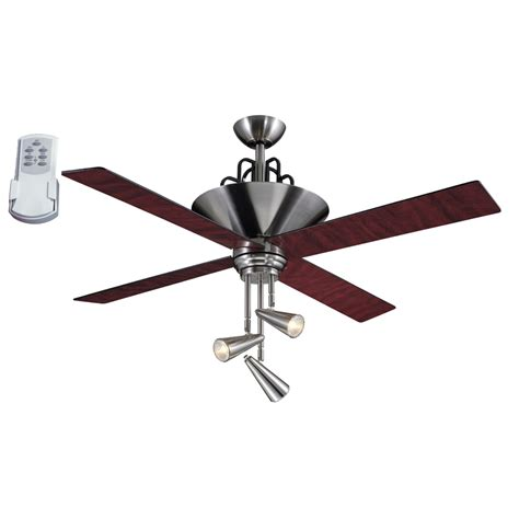 Ceiling Fan With 4 Lights Shop Harbor Galileo 52 In Brushed Chrome Downrod Mount Ceiling Fan With Light Kit And