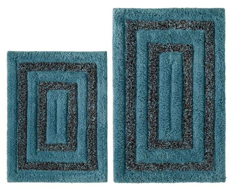 New 2 Pc Tweed Cotton Bath Rug Set Spa Blue Brown Non Brown And Blue Bathroom Rugs