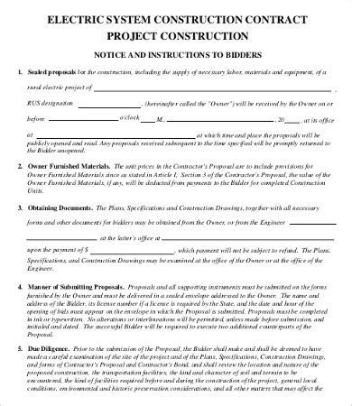 15 Sle Construction Contract Templates Free Sle Exle Format Download Free Free Electrical Service Contract Template