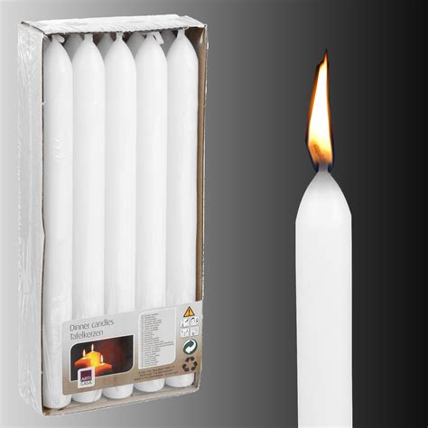 Dinner Candles Box Of 10 X White Unscented Dinner Table Candles