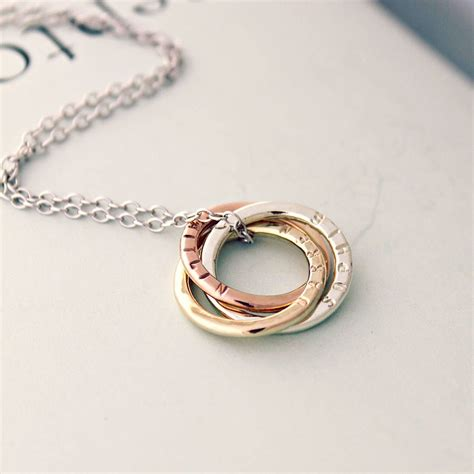 personalised 9ct mixed gold russian ring necklace n c k