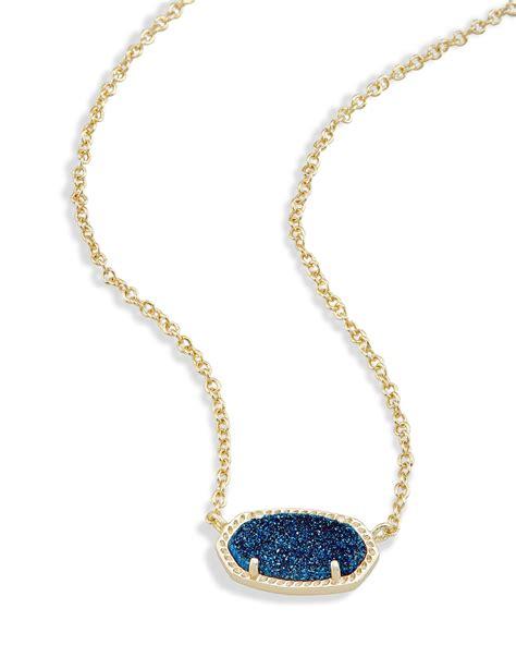 Blue Neckles elisa pendant necklace in blue drusy kendra