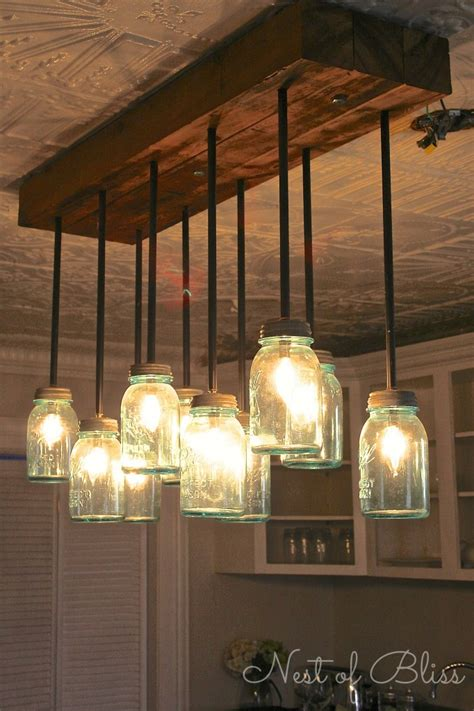 Mason Jar Chandelier Nest Of Bliss Diy Dining Room Lighting Ideas