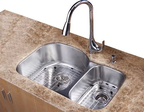 60 40 kitchen sink 32 in 60 40 bowl kitchen sink and faucet with soap dispenser contemporary kitchen