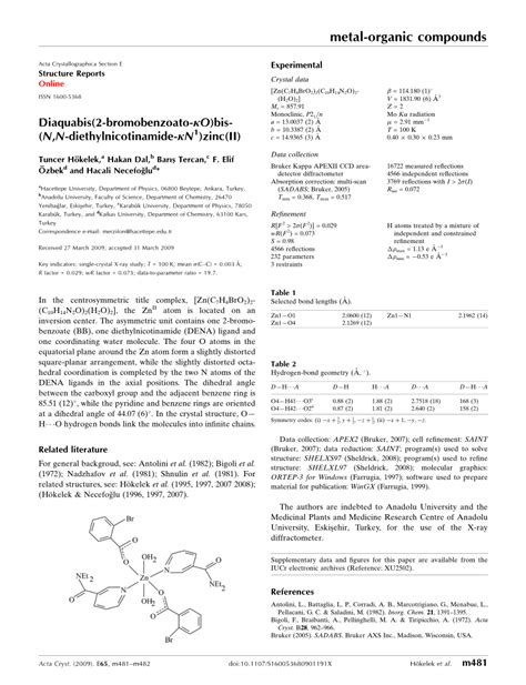 acta crystallographica section e structure reports online impact factor diaqua 173 bis 2 bromo 173 benzoato κo bis 173 n n diethyl