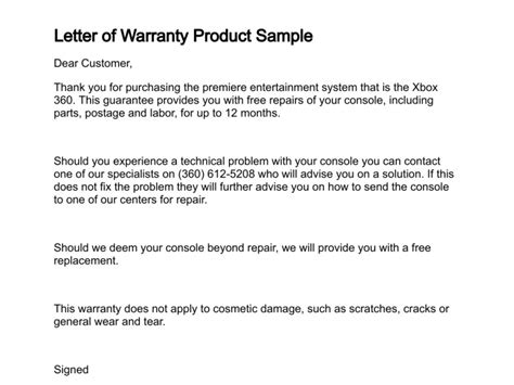 Guarantee Letter For Customer Letter Of Warranty Free Printable Documents