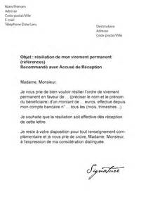 Lettre De Recommandation Bancaire Lettre De R 233 Siliation Virement Permanent Mod 232 Le De Lettre