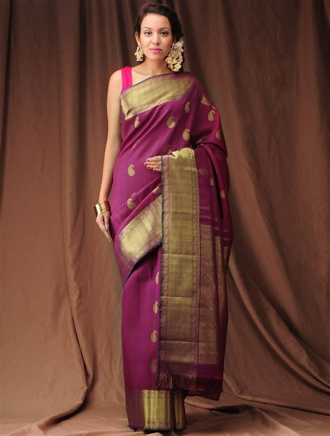 Buy Violet Peach Zari Kanjivaram Silk Saree Online at