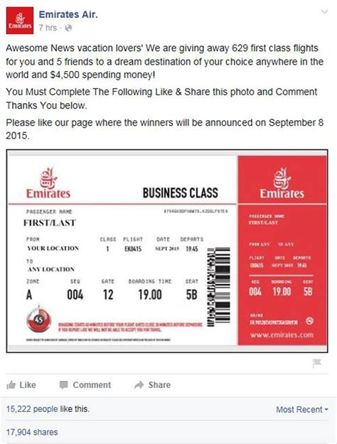 emirates ticket facebook competition for free first class tickets is a