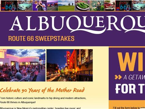 Sweepstakes Route - albuquerque cvb route 66 anniversary sweepstakes