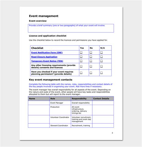 event plan template event plan template for word excel pdf