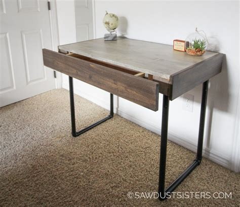 Build A Small Desk Build A Small Computer Desk With Pipe Legs Free Plans Sawdust