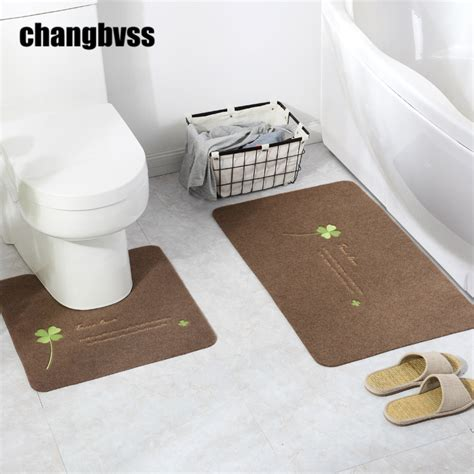 Cheap Bathroom Rug Sets 2pcs Set Cheap Flower Printing Bath Mat U Shaped And Square Rug Toilet Bath Mat Carpet
