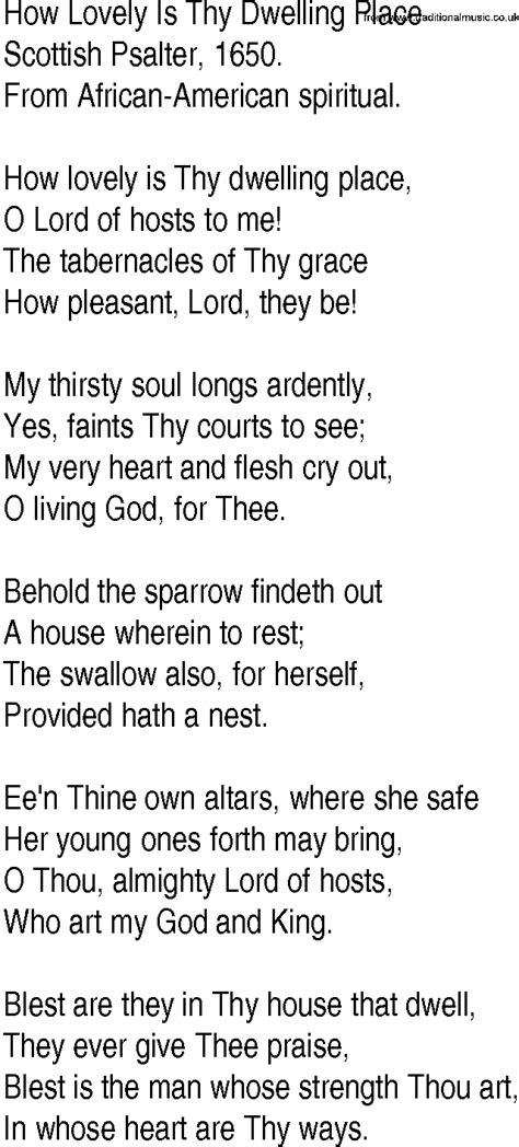 There Is A Place Hymn Lyrics Hymn And Gospel Song Lyrics For How Lovely Is Thy Dwelling Place By Scottish Psalter
