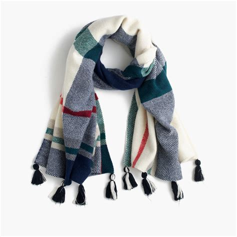 wool scarf in oversized plaid s scarves j crew